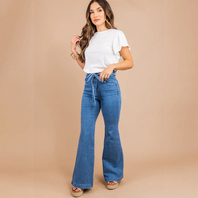 High-rise wide-leg flared jeans