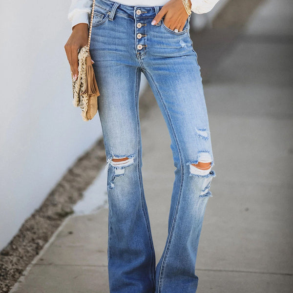 Mid-rise sexy hole jeans