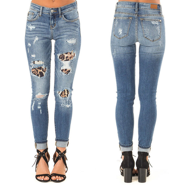 Mid-rise stretch hole stitching leopard print jeans