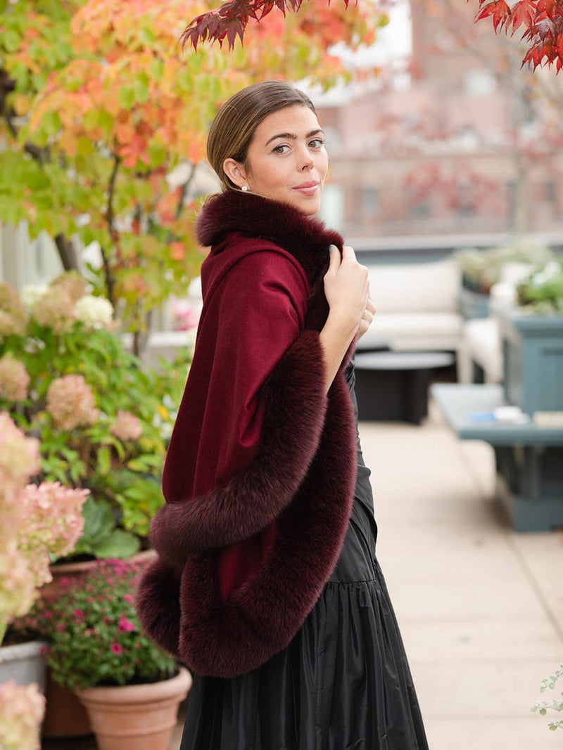 Cashmere and Fox Semi-circle Cape