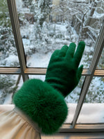 Cashmere Gloves with Fur Cuff