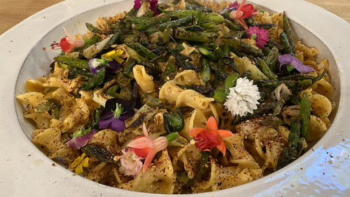 Vegan Spring Pasta: Campanelle With Creamy Tahini Sauce Charred Asparagus + Za'atar