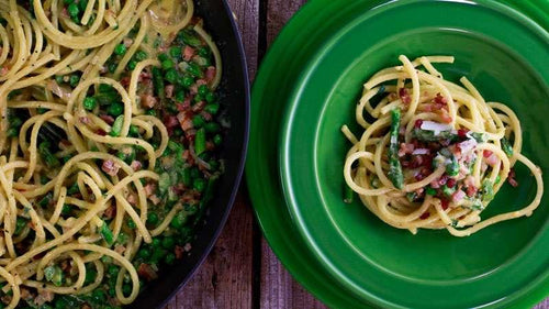Carbonara with Asparagus and Peas