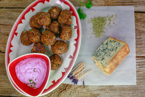 Beef Meatballs with Blue Cheese and Horseradish