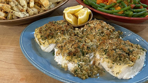 Baked Fish with Lemon + Dijon & Garlic-Cheese Breadcrumbs