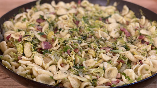Orecchiette with Bacon, Onion and Brussels Sprouts or Cabbage