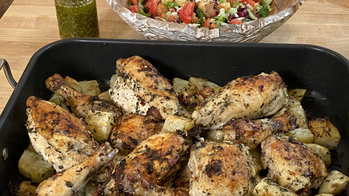 Garlic Herb Roast Chicken With Potatoes
