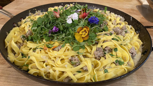 Sausage, Fennel, Lemon and Arugula Tagliatelle