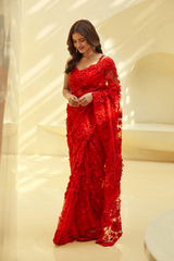 Ruby Red Floral Saree