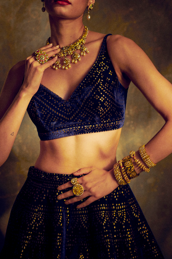 Navy Blue Velvet Lehenga Set