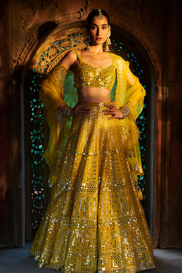 Sunflower Yellow Mirror Work Lehenga Set
