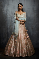 Powder Peach And Aqua Gota Patti Lehenga Set