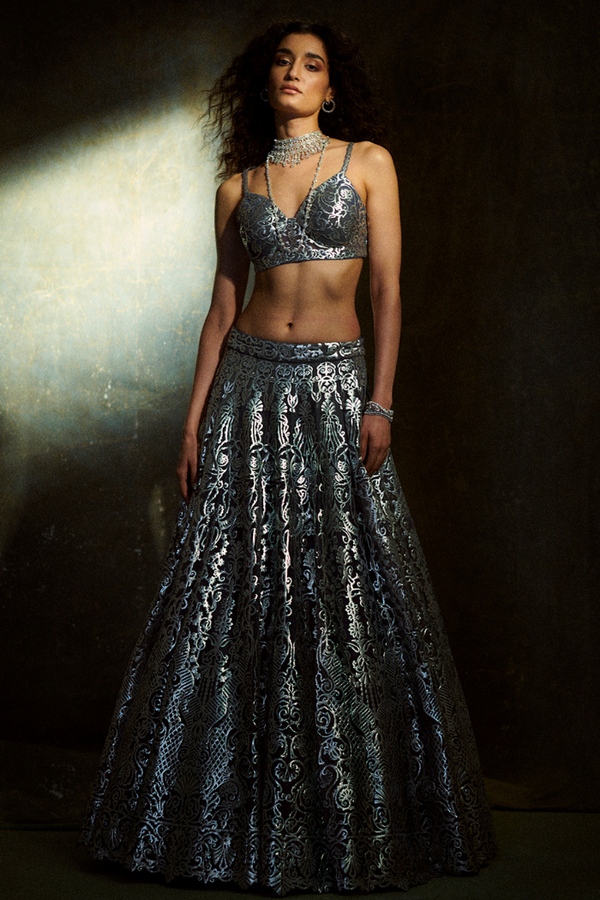 Silver Applique Lehenga Set