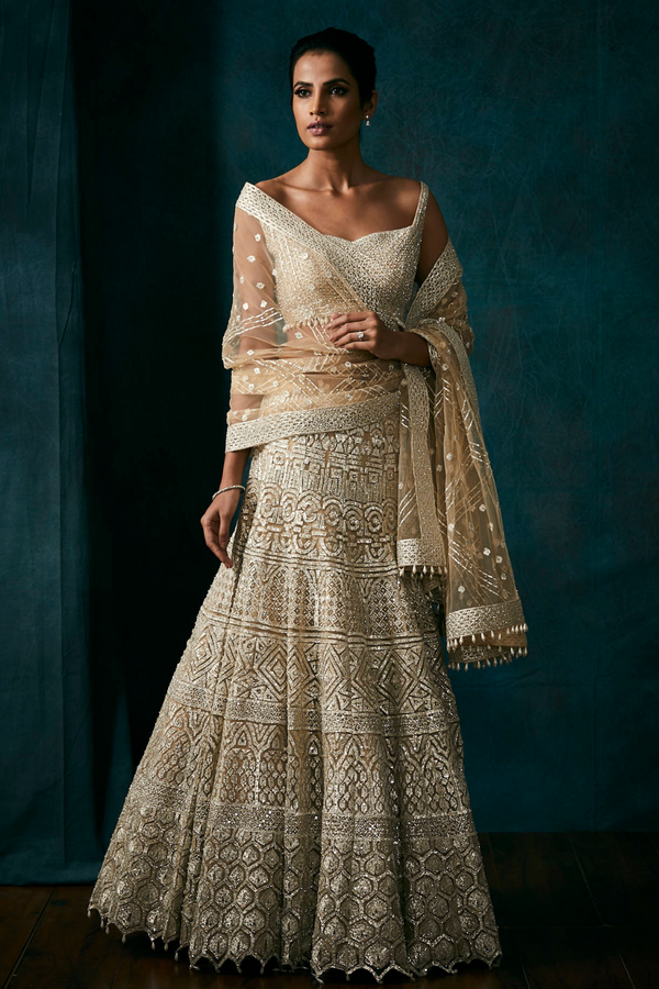 Light Gold Metallic Lehenga Set