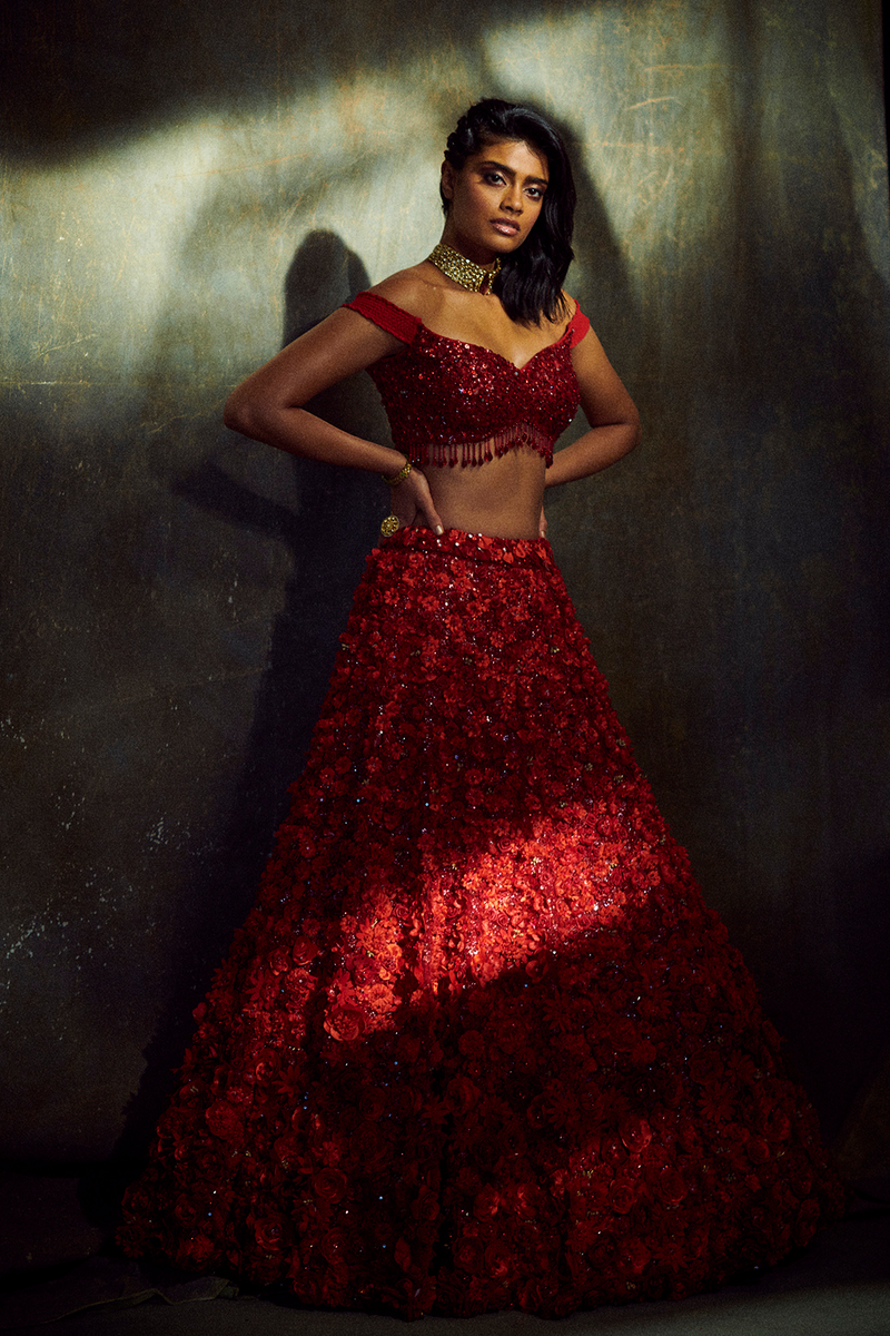 Three-Dimensional Ruby Red Floral Lehenga Set