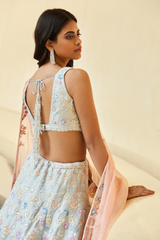 Raw Silk Sequin Lehenga Set