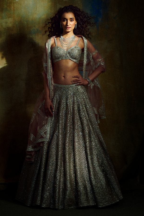 Silver Metallic Lehenga Set