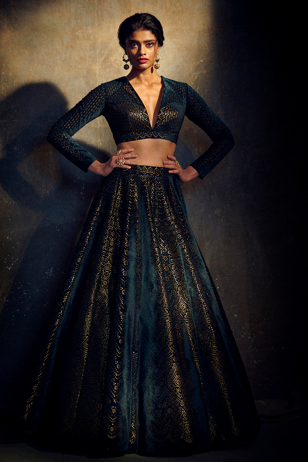 Bottle Green Velvet Lehenga Set