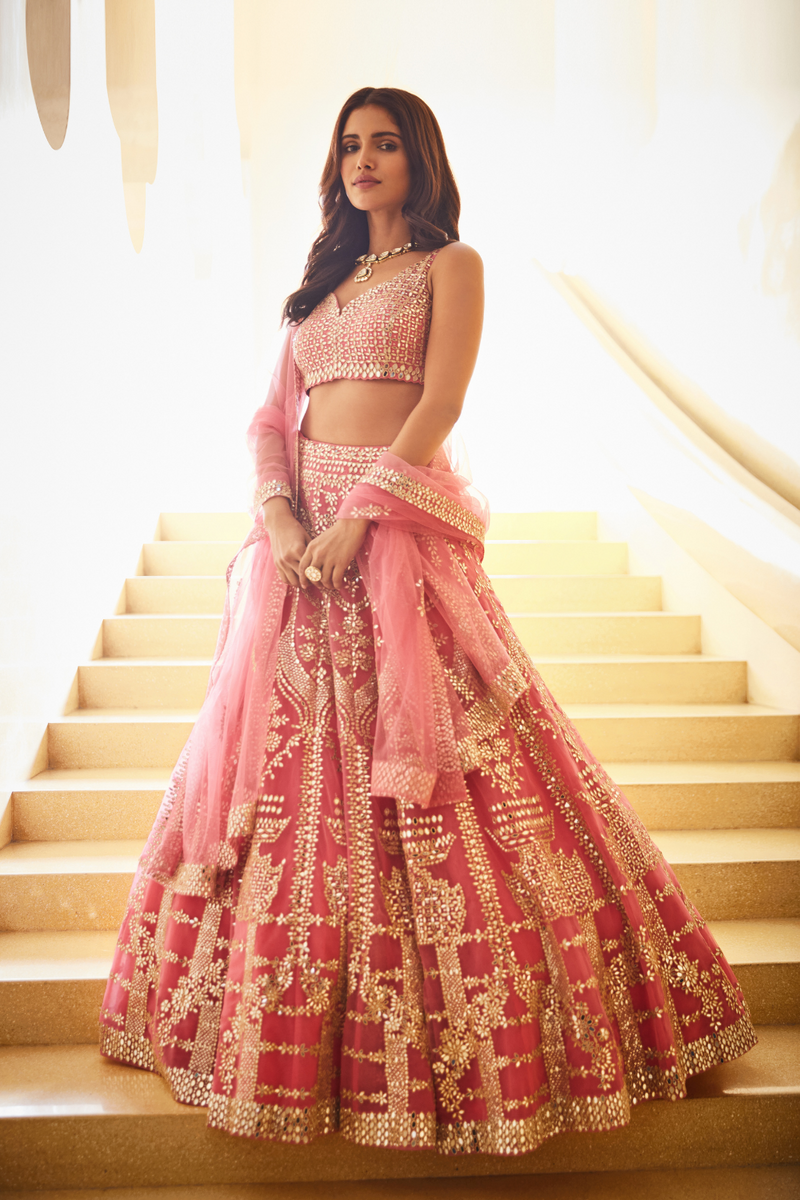 Pink Mirror Work Lehenga Set