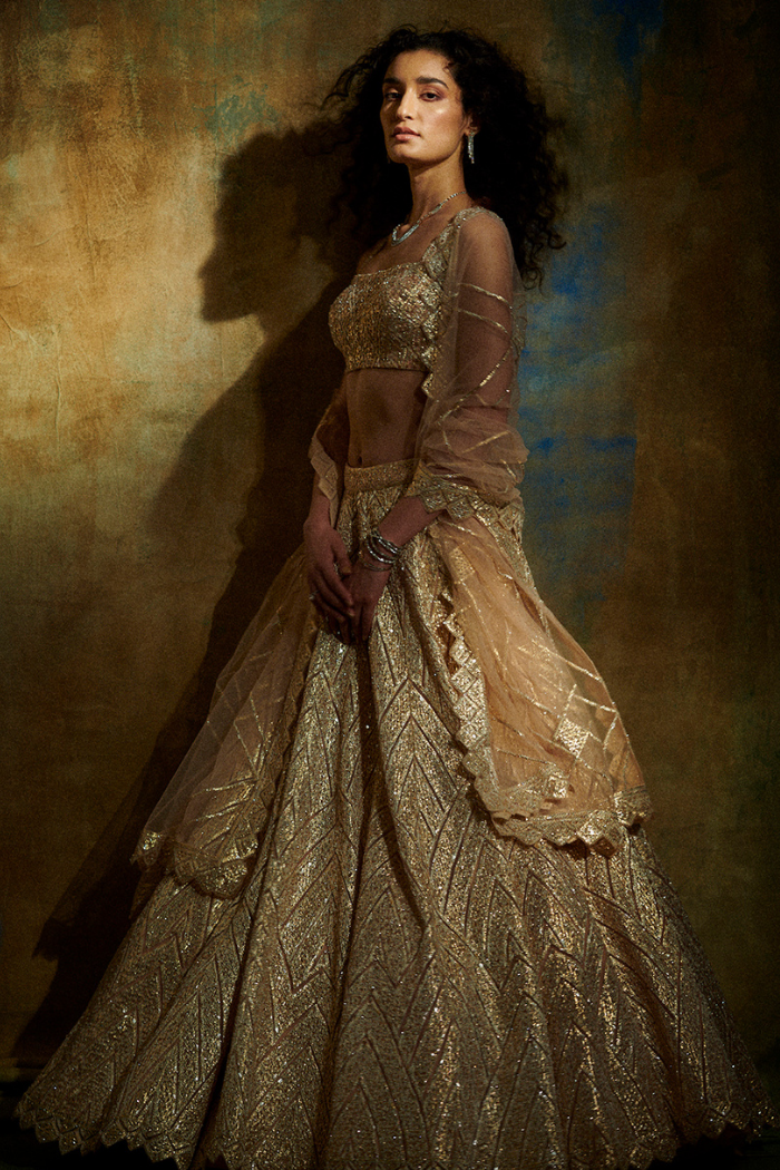 Rose Gold Metallic Lehenga Set