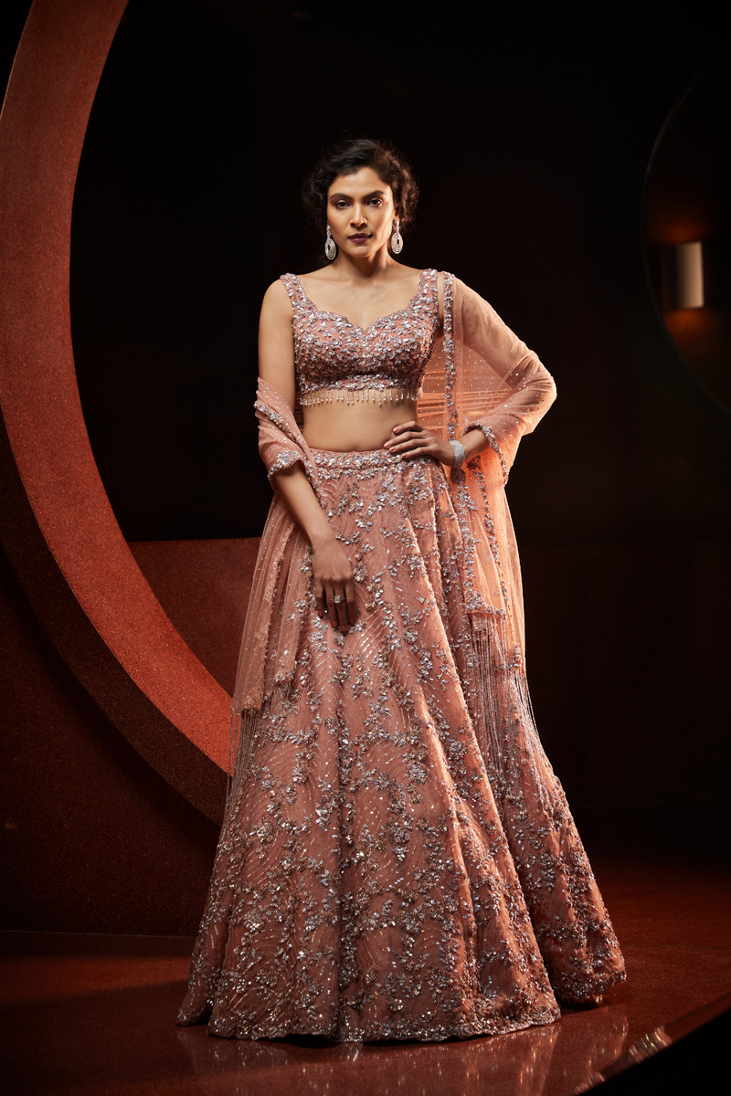 Peach Metallic Lehenga Set