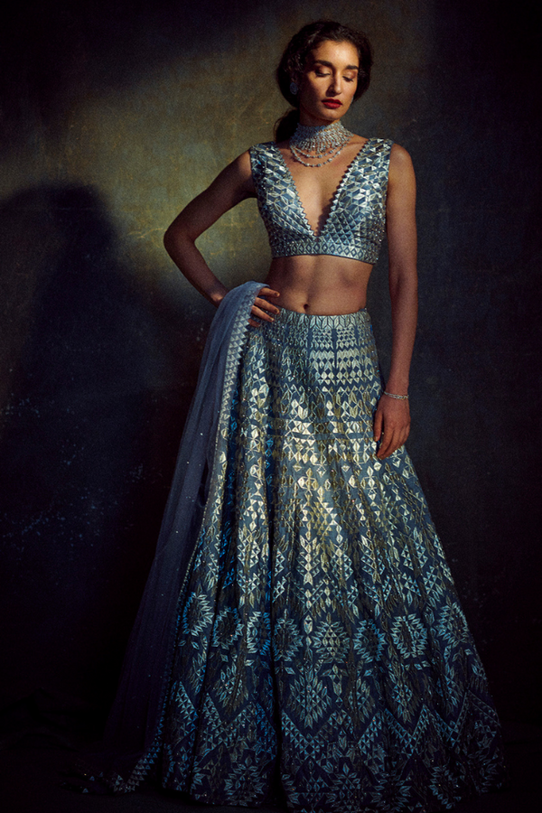Silver Threadwork Lehenga Set