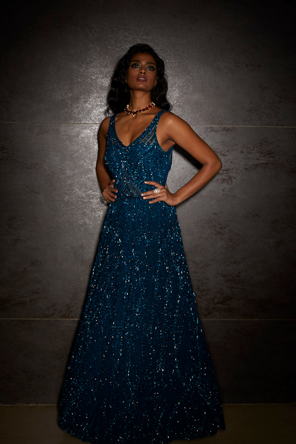 Midnight Blue Sequins Gown