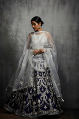 Navy Blue and Silver Gota Patti Lehenga Set