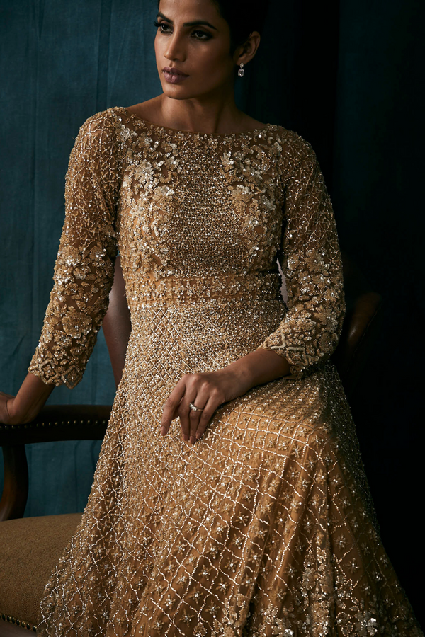 Antique Gold Sequins Gown