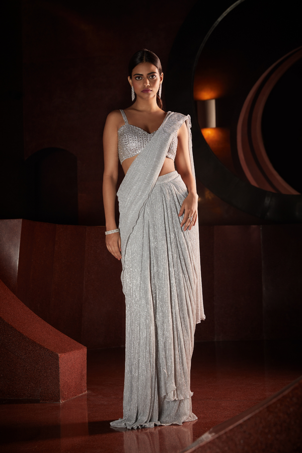 Silver Stitched Saree