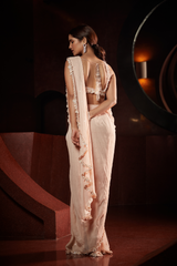 Peach Stitched Saree