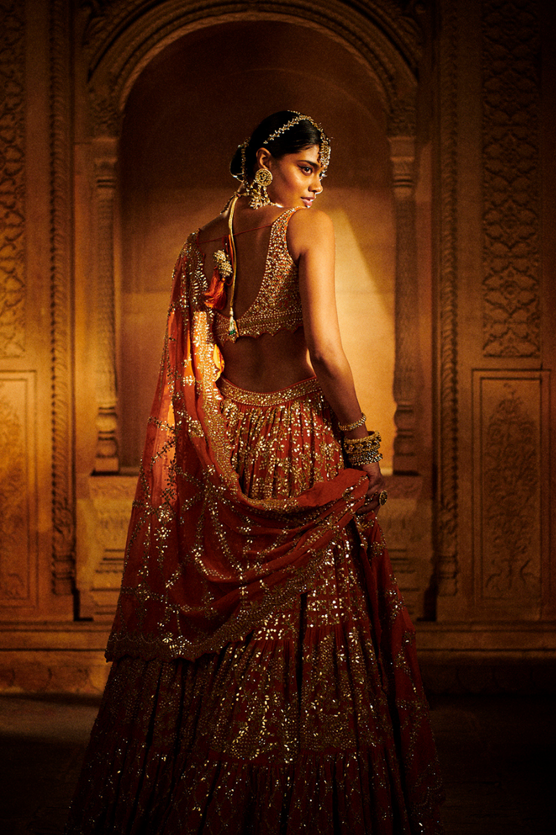 Rust Multi-Tiered Lehenga Set