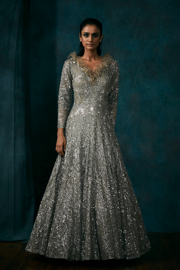 Metallic Grey Gown