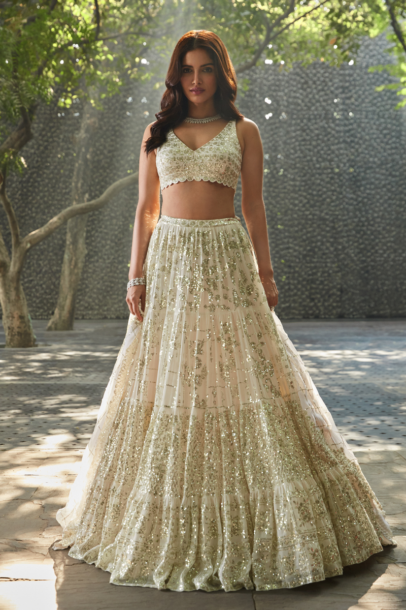 Ivory Multi-Tiered Lehenga Set