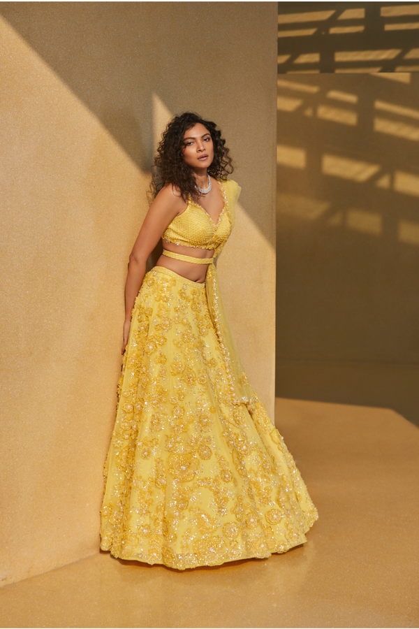 Three-Dimensional Yellow Floral Lehenga Set