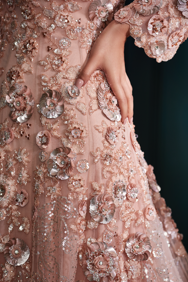 Peach Sequins Gown