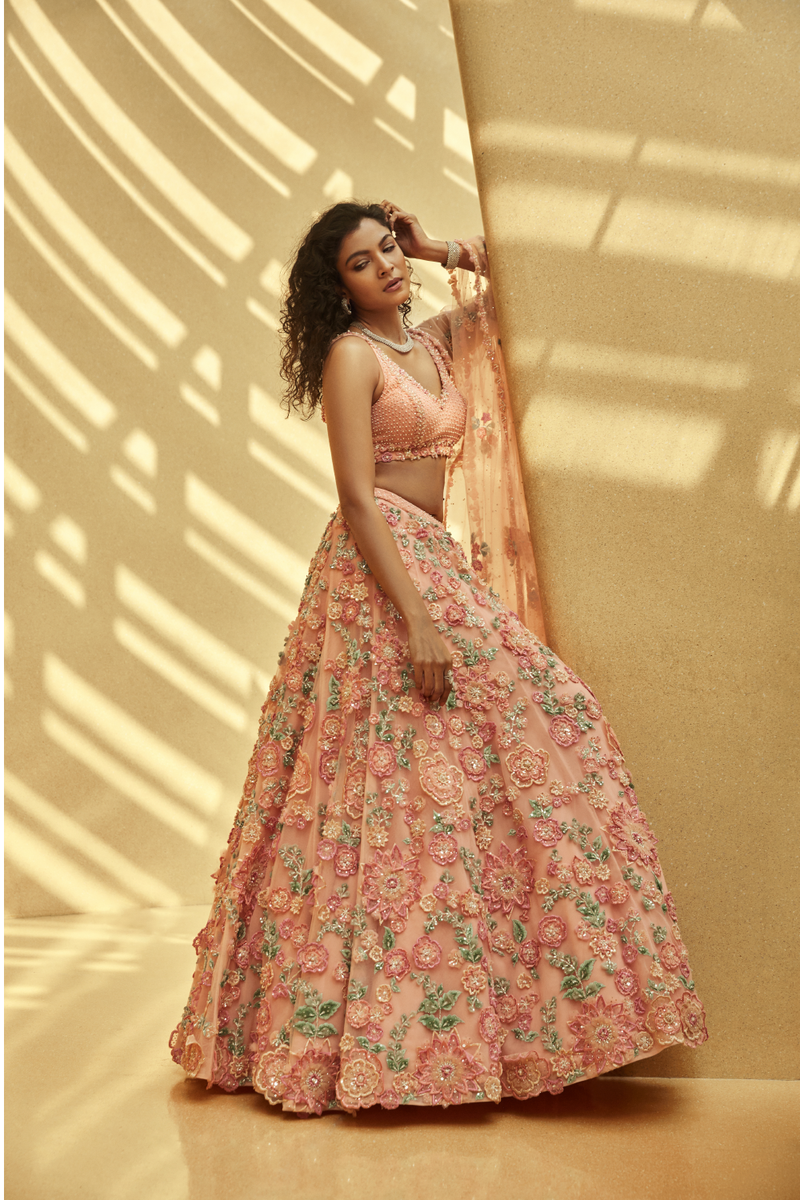 Three-Dimensional Pink Floral Lehenga Set