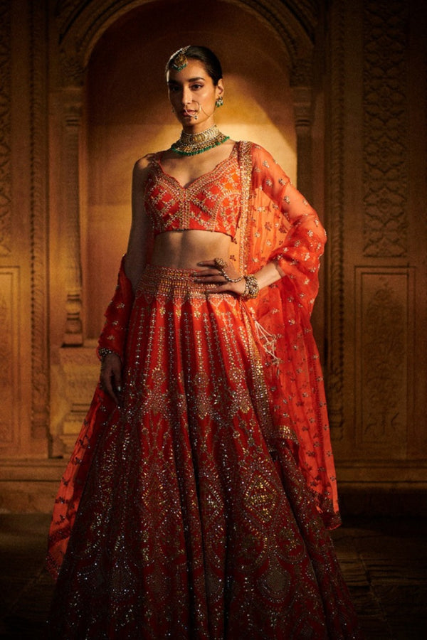 Burnt Orange Gota Patti Lehenga Set