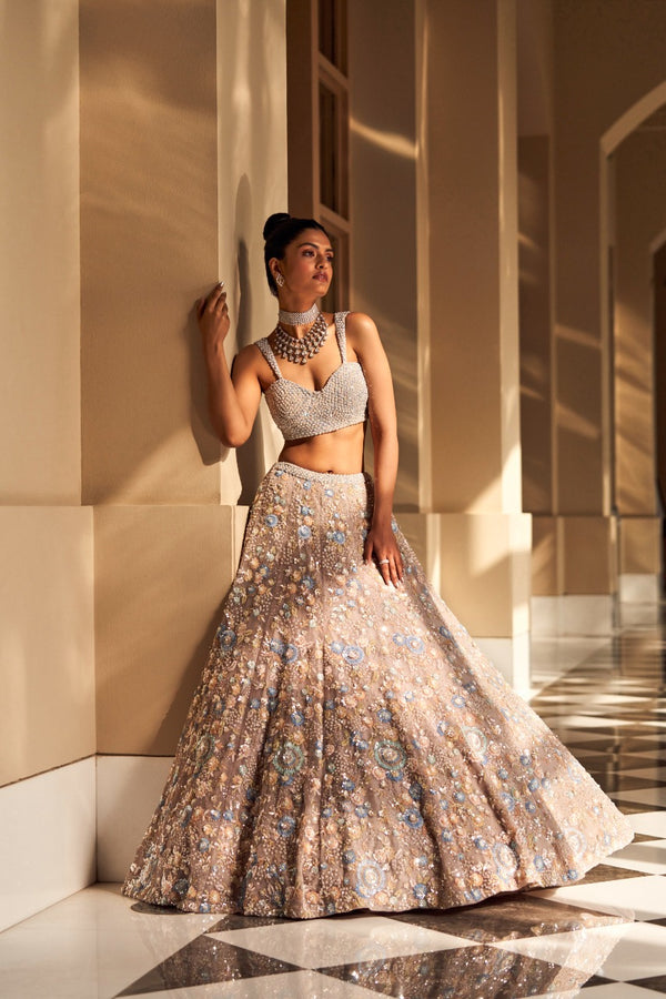 Coffee Floral Lehenga Set