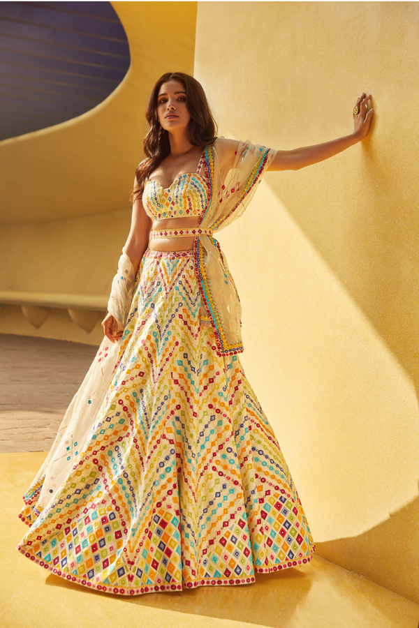 Multi-Colored Geometric Lehenga Set