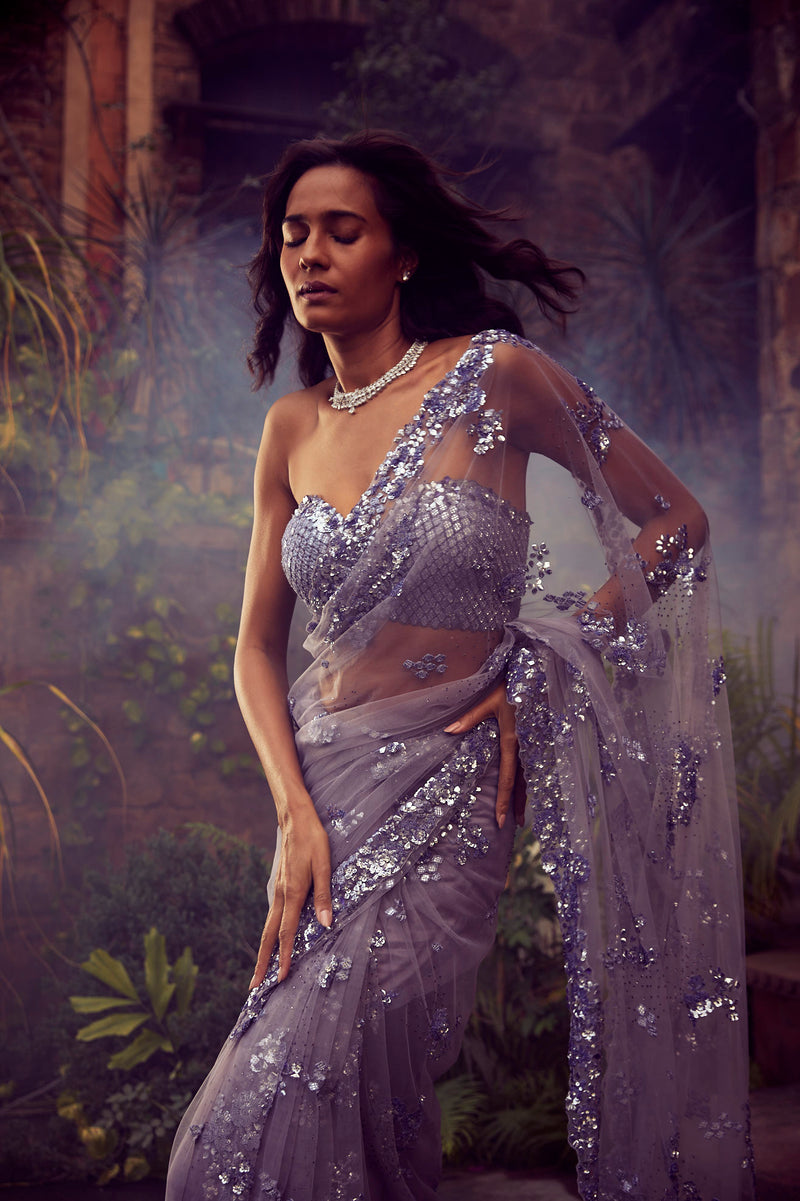 Dusty Mauve Sequins Saree