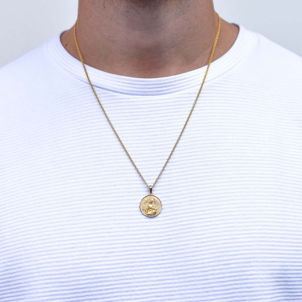 Jesus Piece Necklace in Gold for Men
