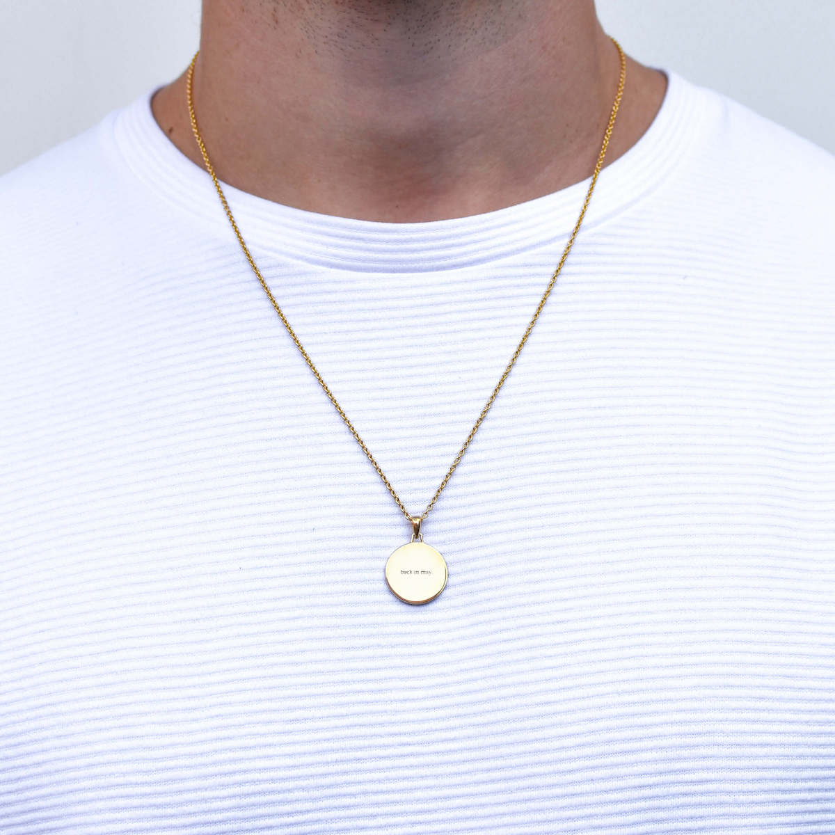 Back in May Round Polished Necklace in Gold for Men