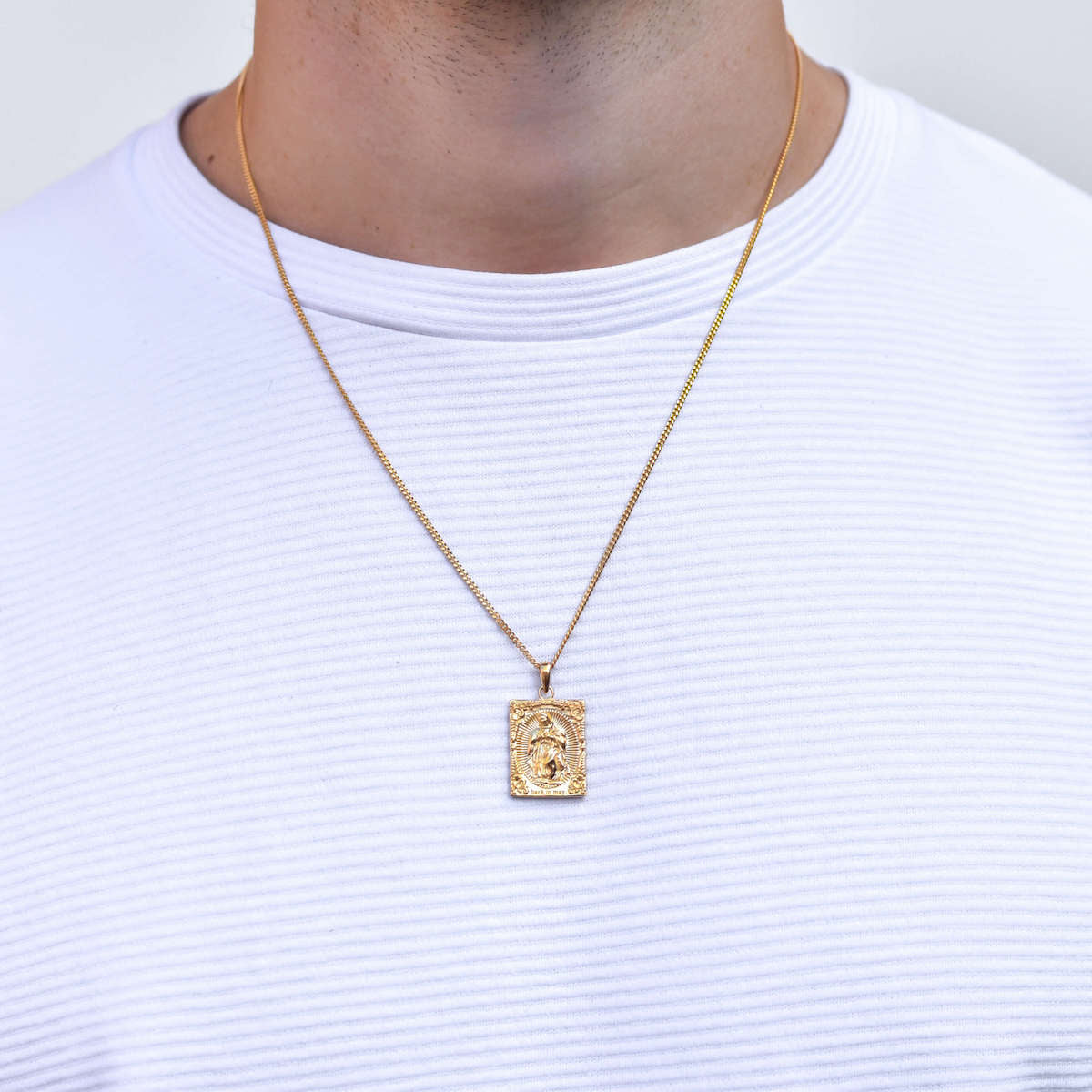 Virgin Mary Necklace in Gold for Men