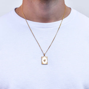 Square Virgin Mary Necklace in Gold for Men