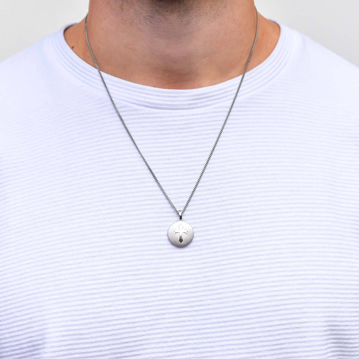 Round Cross Necklace for Men in Silver