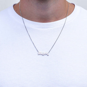 Mighty Silver Necklace with Old English Font for Men