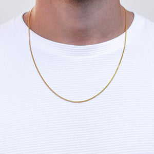 Curb Diamond Cut Necklace in Gold for Men