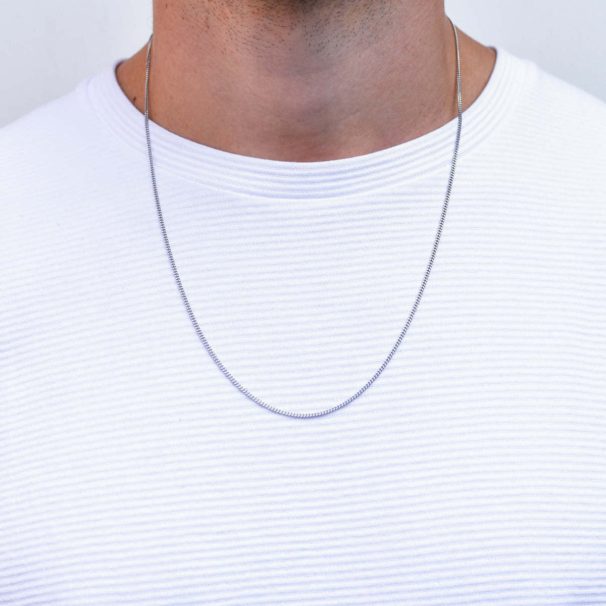 Curb Diamond Cut Silver Necklace for Men