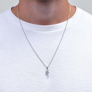 Silver Rose Necklace for Men